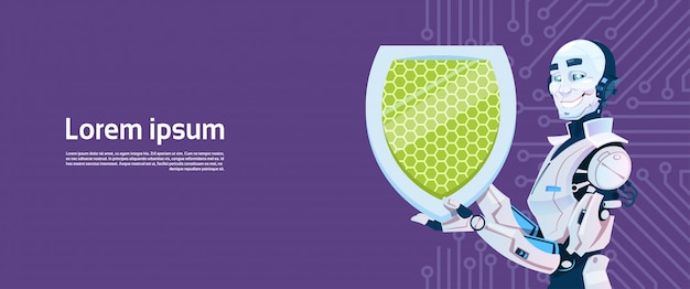 Conceito moderno da proteção de dados do protetor da posse do robô, tecnologia futurista do mecanismo da inteligência artificial