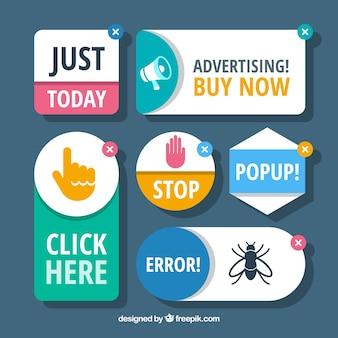 Conceito moderno de bloco de anúncios com design plano