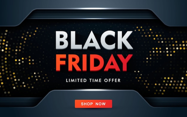 Conceito moderno de design de venda de sexta-feira negra com brilhos dourados