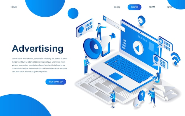 Conceito moderno de design isométrico de publicidade
