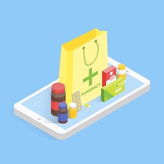 Conceito moderno de farmácia e drogaria. drogas de venda de telefone isométrica on-line. ilustração em vetor simples
