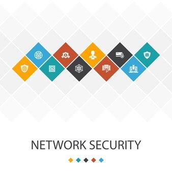 Conceito moderno de infográficos de modelo de iu de segurança de rede. rede privada, privacidade online, sistema de backup, ícones de proteção de dados