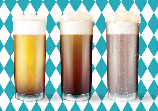 Conceito moderno de oktoberfest. copos de cerveja.