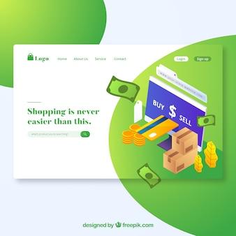 Conceito moderno de página de destino de compras