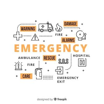 Conceito moderno de palavra de emergência com design plano