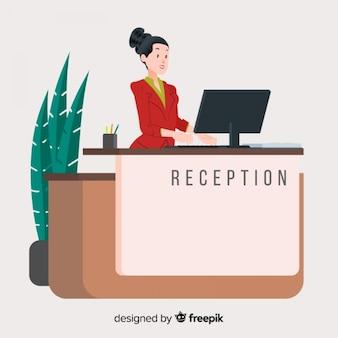 Conceito moderno de recepção com design plano
