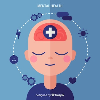 Conceito moderno de saúde mental com design plano