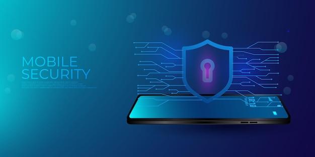 Conceito moderno de segurança móvel. o aplicativo inteligente protege o smartphone contra roubos e ataques de hackers.