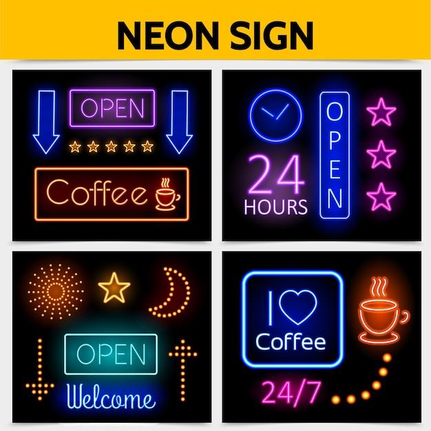Conceito moderno de sinais de néon de publicidade digital