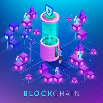 Conceito moderno de tecnologia digital em forma de cadeia de blocos