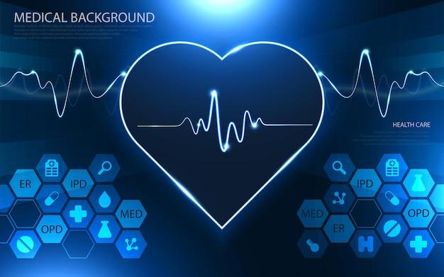Conceito moderno de tecnologia e inovação médica. projeto de plano de fundo do conceito de inovação médica padrão de cuidados de saúde.