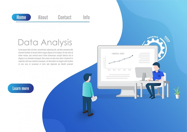 Conceito moderno design plano de análise de big data para site e computador