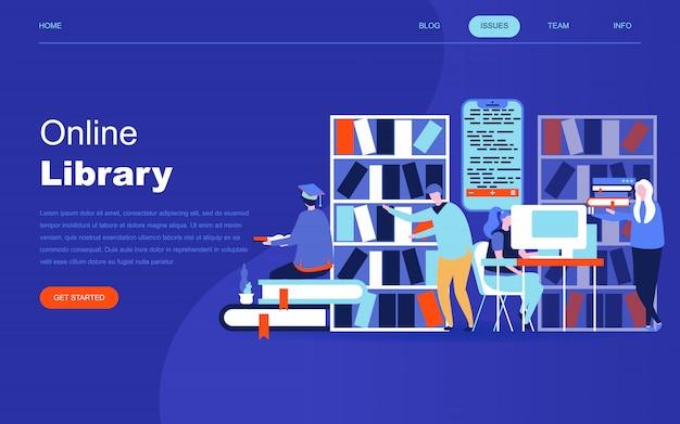 Conceito moderno design plano de biblioteca on-line