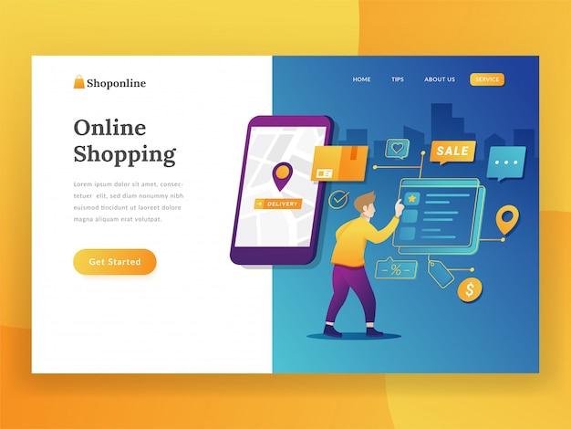 Conceito moderno design plano de compras on-line para o site e site móvel