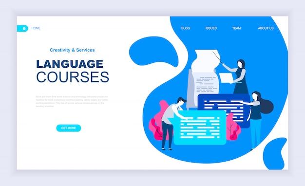 Conceito moderno design plano de cursos de línguas
