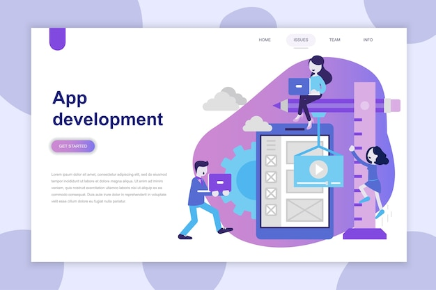 Conceito moderno design plano de desenvolvimento de aplicativos para o site