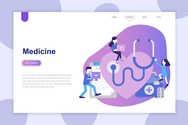 Conceito moderno design plano de medicina para site