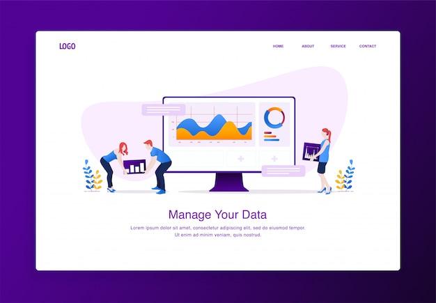 Conceito moderno design plano de pessoas personalizando dados na área de trabalho