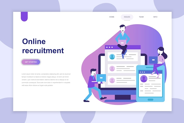 Conceito moderno design plano de recrutamento para o site