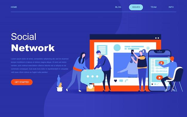 Conceito moderno design plano de rede social