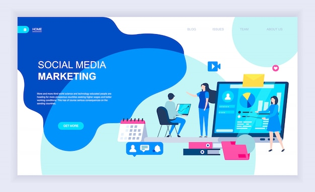 Conceito moderno design plano de social media marketing