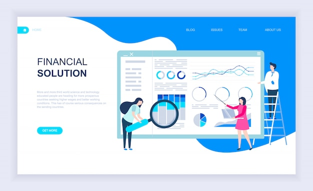 Conceito moderno design plano de solução financeira