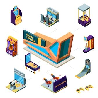 Conceito moderno do centro de jogos. máquinas de jogos 3d. simulador de corrida de dardos, jogos engraçados de fliperama para crianças máquinas isométricas de pinball.