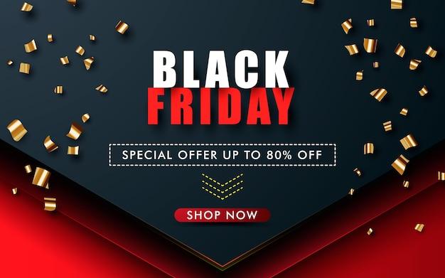 Conceito moderno venda de sexta-feira negra com confete dourado