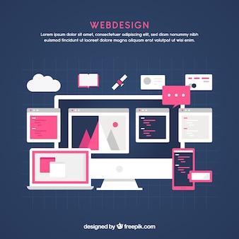 Conceito moderno web design com design plano