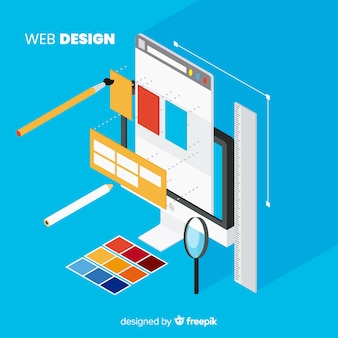 Conceito moderno web design com vista isométrica