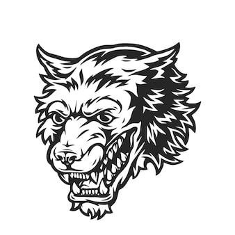 Conceito monocromático de cabeça de lobo feroz em ilustração isolada de estilo vintage