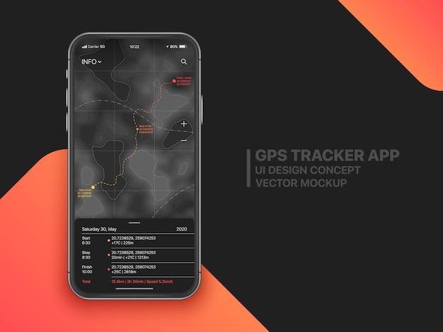 Conceito móvel da interface do usuário ui ux do rastreador gps