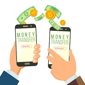 Conceito móvel da transferência bancária do dinheiro