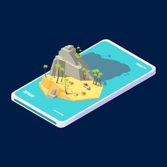 Conceito móvel isométrico de férias de app de ilha de praia verão