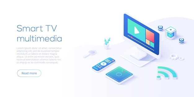 Conceito multimídia de smart tv em ilustração vetorial isométrica
