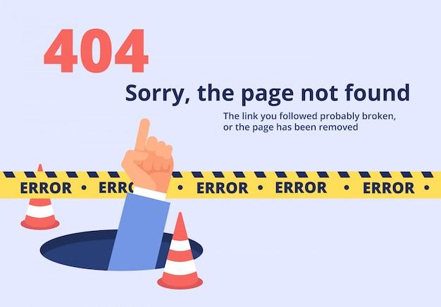 Conceito não encontrado. design de página de erro 404 com a mão segurando a mensagem. de fundo vector