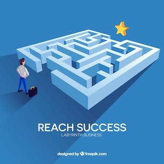 Conceito negócio, com, labirinto
