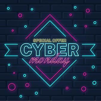 Conceito neon cyber segunda-feira