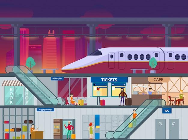 Conceito noturno de estação ferroviária plana