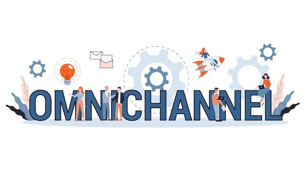 Conceito omnichannel. muitos canais de comunicação com o cliente. o varejo online e offline ajuda a expandir seus negócios. ilustração
