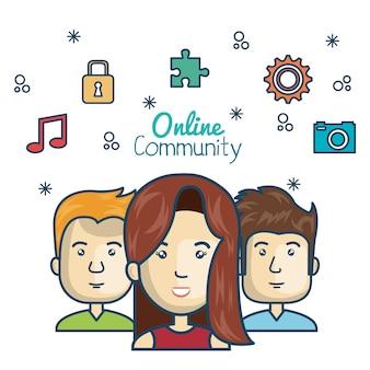 Conceito on-line de comunidade de pessoas com mídia de ícones