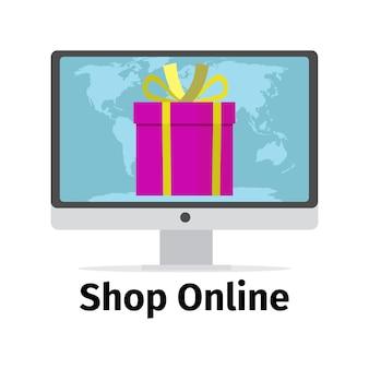 Conceito on-line de loja com presente rosa