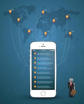 Conceito on-line de negócios móveis