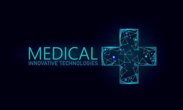 Conceito on-line médico símbolo transversal médico. aplicativo de consulta médica. bandeira de rede web hospital diagnóstico geométrico moderno hospital. chamando farmácia mercado fundo baixo poli