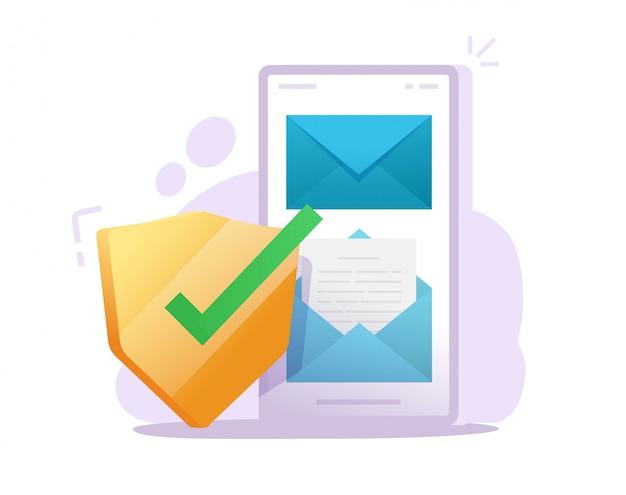 Conceito online de comunicação segura de telefone móvel de documento de e-mail