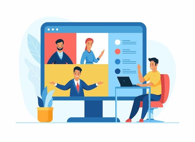 Conceito online de videoconferência. personagem de desenho animado sentado em uma cadeira em frente a um laptop
