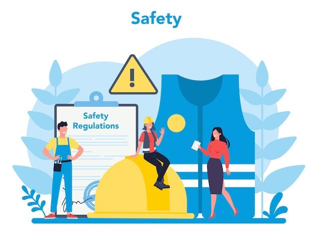 Conceito osha. administração de segurança e saúde ocupacional. serviço público governamental que protege o trabalhador de riscos à saúde e à segurança no trabalho. ilustração em vetor plana isolada