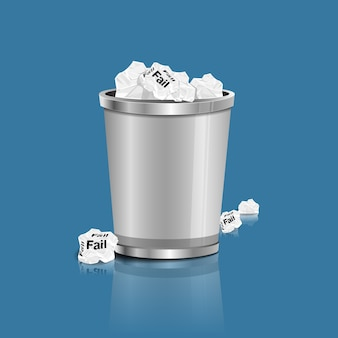 Conceito, papel da falha no escaninho de lixo, ilustração do vetor.