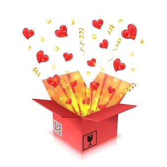 Conceito para dia dos namorados com corações, decolando de caixa de presente com serpentinas e confetes. isolado