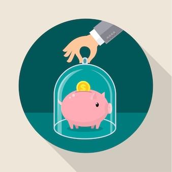 Conceito para poupar dinheiro